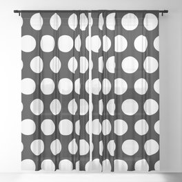 Black with White Polka Dots Sheer Curtain