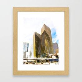 twin yellow buildings at Las Vegas, USA Framed Art Print