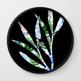 January leaves -watercolour on black background Wall Clock