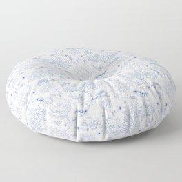 Lemony Toile de Jouy Floor Pillow