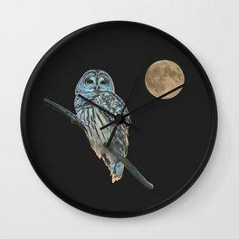 Owl, See the Moon (sq Barred Owl) Wall Clock