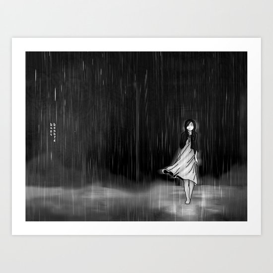 ... as the rain fell on me Art Print