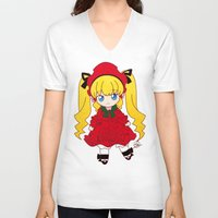 chibi V-neck T-shirts featuring Chibi Shinku by Yue Graphic Design