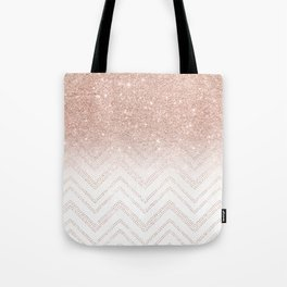 Modern faux rose gold glitter ombre modern chevron stitches pattern Tote Bag