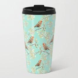 Vintage Redbreast Robin Pattern Travel Mug