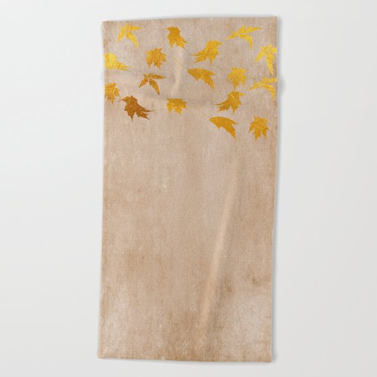 Gold leaves on grunge backround - Autumn design Beach Towel