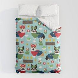 Corgi Video Game fabric - video game, cute, dog, dogs, cosplay, costume, dress up, corgi con, conven Comforters
