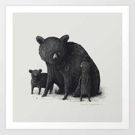 Black Bear Family Art Print