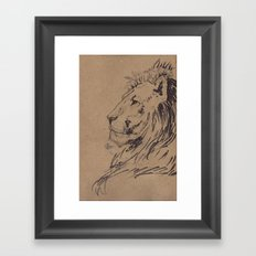 Lion Profile Framed Art Print