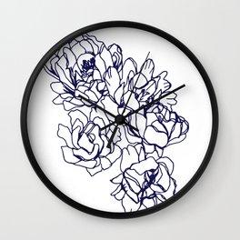 Floral Peon Navy Wall Clock