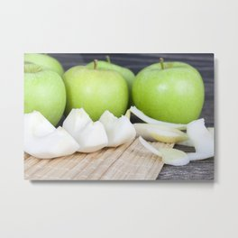core of the apple is cut into the whole Metal Print