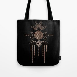Mandala Flower of Life Rose Gold Pink Tote Bag