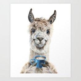 Llama Latte Art Print