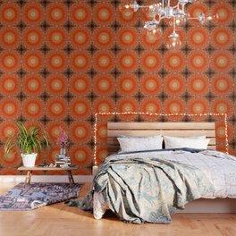 Detailed Orange Boho Mandala Wallpaper
