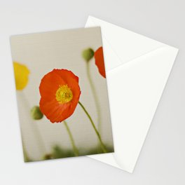 Orange Poppy Bloom Red Green Yellow Flower Stationery Cards