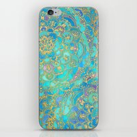 green iPhone & iPod Skins featuring Sapphire & Jade Stained Glass Mandalas by micklyn