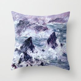 Monet : Storm At Belle Ile Throw Pillow