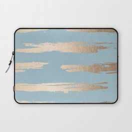 Abstract Paint Stripes Gold Tropical Ocean Sea Blue Laptop Sleeve