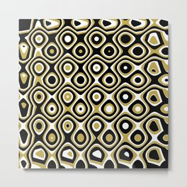 Black gold and white dots and circles Metal Print
