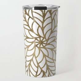 Elegant white faux gold floral trendy mandala Travel Mug