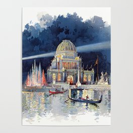 White City at Night, Chicago World's Fair of 1893 Poster