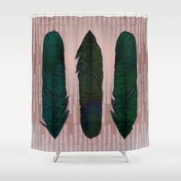 Powder pink and green feathers Shower Curtain