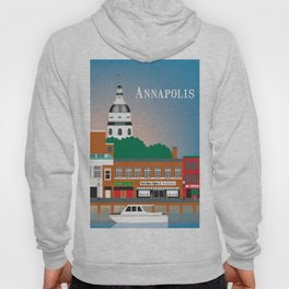 Annapolis, Maryland - Skyline Illustration by Loose Petals Hoody