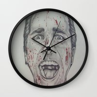 american psycho Wall Clocks featuring American Psycho by A.H.