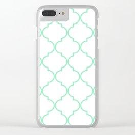 Quatrefoil - mint green Clear iPhone Case