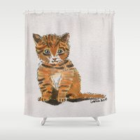 whisky Shower Curtains featuring Whisky, the Kitty by Gersin@Albatrostudio