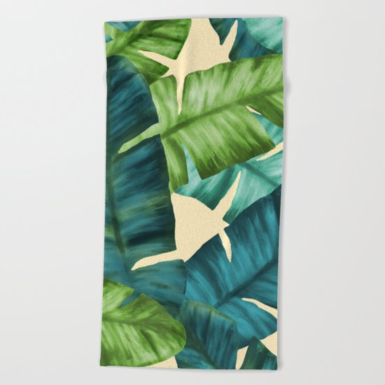 Tropical Banana Leaves Original Pattern Beach Towel