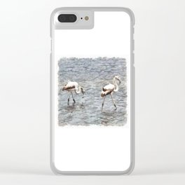 Be A Flamingo Watercolor Clear iPhone Case