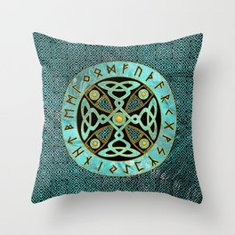 Decorative Celtic Cross  - and Runes alphabet Throw Pillow