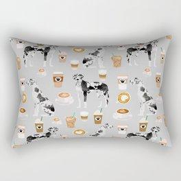Great Dane coffee lover custom pet portraits by pet friendly dog breed illustration Rectangular Pillow