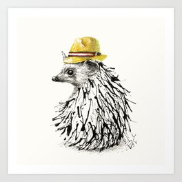 Hedgehog With Straw Hat Art Print