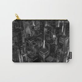 Night city glow B&W / 3D render of night time city lit from streets below in black and white Carry-All Pouch