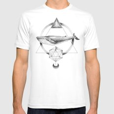 GEOMETRIC WHALE White MEDIUM Mens Fitted Tee