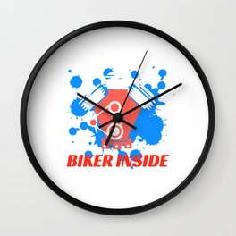 """A Nice Inside Theme Tee For You Who Loves Being Inside Saying """"Biker Inside"""" T-shirt Design Bicycle Wall Clock"""