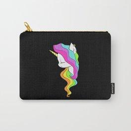 Unicorn Head Silhouette Rainbow Hair Carry-All Pouch