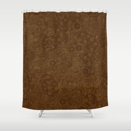 Clockwork Retro / Cogs and clockwork parts lineart pattern in brown and gold Shower Curtain