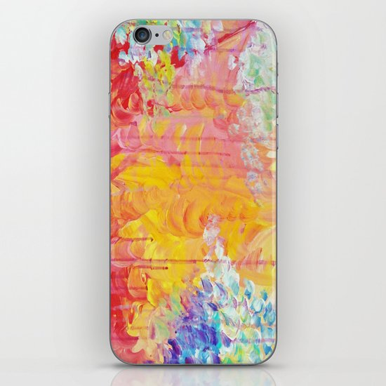 SUN SHOWERS - Beautiful Pastel Coloful Rain Clouds Bright Sky Abstract Acrylic Painting iPhone & iPod Skin