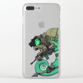 Chameleon Special Force Military with spear gift ideas Clear iPhone Case