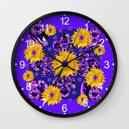 Glittering Amethyst Gems Jeweled Sunflower Rain Wall Clock