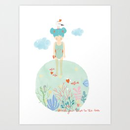 Send Your Love to the Sea Art Print