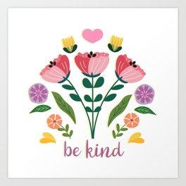 Be Kind Folk Art Bouquet Art Print
