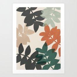 Abstract Colorful Leaves, Botanical, Scandinavian Art Print Art Print