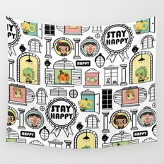 Pattern Stay Happy Animals Wall Tapestry