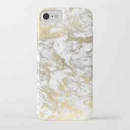 Modern chic faux gold white elegant marble iPhone Case