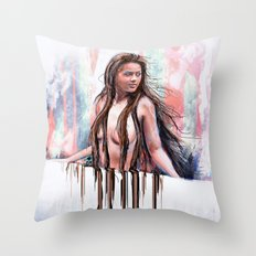 Beside the Wall She Stood Throw Pillow