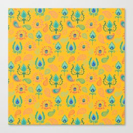 Yellow Ikat Doodle Pattern Canvas Print